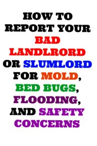 How To Report a Bad Landlord Or Slumlord for Mold, Bed Bugs, Flooding, and Safety Concerns,